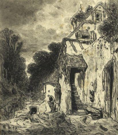 Eugène DESHAYES (1828-1890/91)  Lavandière...