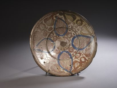 Plat en lustre de Manises  Céramique à décor...