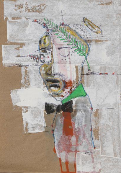 Pierre SEGOH, né en 1980 - Togo  Duo de dessin Josette et Pierrette  Gouache et...