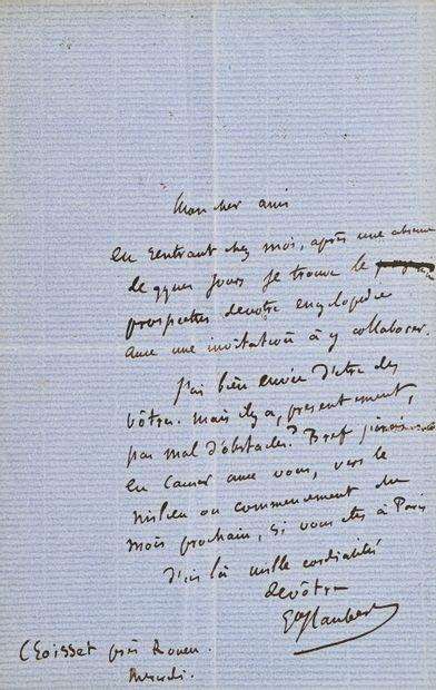 Gustave FLAUBERT (1878-1920) Lettre autographe signée à un éditeur.1 page in-8 à...