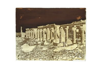 FELIX BONFILS ISIS COLONNADE WITH OBELISK, PHYLOE. UPPER EGYPT 1867-1875  Collodion...