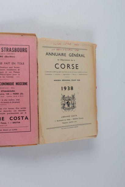 Annuaire général du département de la Corse. Agenda régional pour 1938 Librairie...
