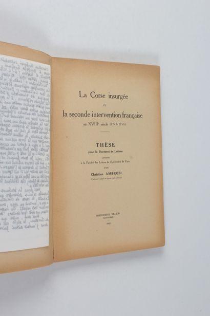 Ambrosi, Christian La Corse insurgée et la seconde intervention française au XVIIIe...