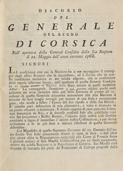 Ragguagli dell'Isola di Corsica. L'ancêtre de la presse corse Au cours de son généralat,...