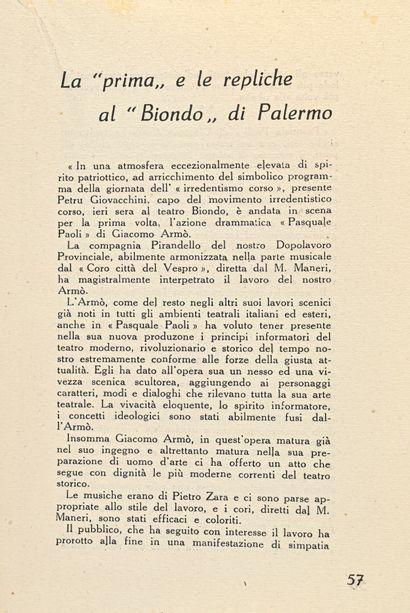 Armo, Giacomo Pasquale Paoli. Scene dell'irredentismo corso dal racconto di Francesco...