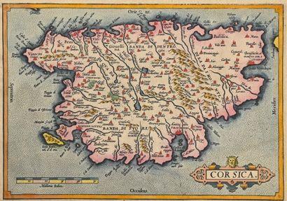 ORTELIUS, Abraham Corsica. Entre 1573 et 1608. 16,5 x 23,5. Agréable tirage bien...
