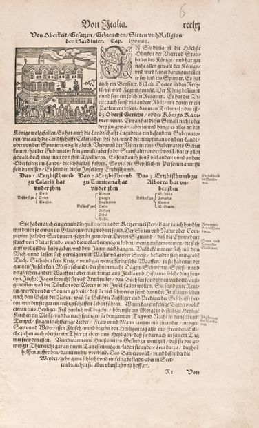 Munster Sebastian Corsica. 12 x 8. Printed in 1588: page Ccclriij cap. Lvvvv, with...