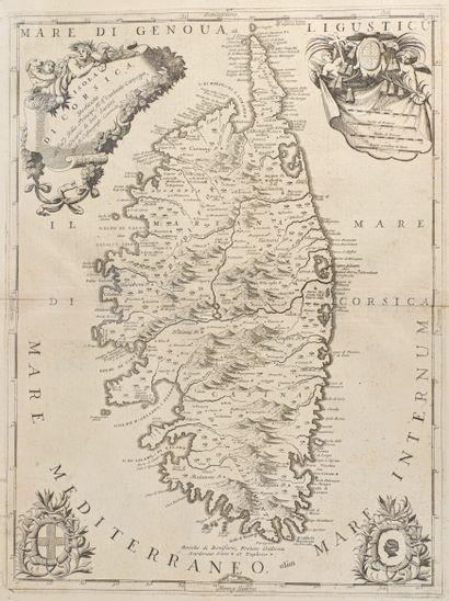 Coronelli, Vincenzo Isola di Corsica,dedicata ... cardinale Carpegna. In Corso  Geografico...