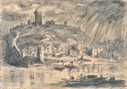 Joanny DREVET (1889-1969)  Trevoux au XVIIe siècle d'après Silvestre  Encre et lavis...