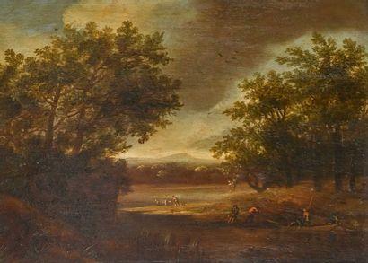 Ecole FRANCAISE du XIXe siècle  Paysage aux pêcheurs  Huile sur panneau  H. 24 cm...