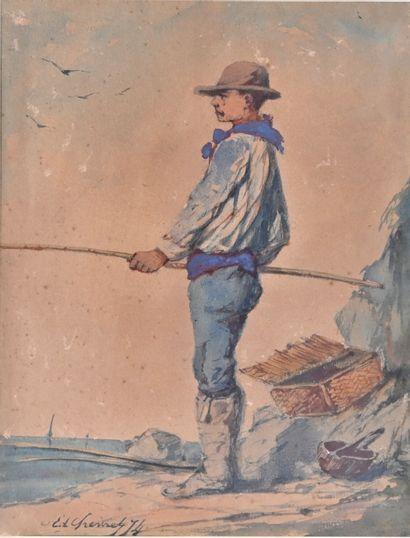 Edmond CHEVRES (XIXe siècle)  Les pêcheurs...