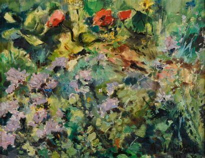 Ecole du XXe siècle  Fleurs  Huile sur panneau,...