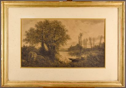 French school of the 19th century  Landscape  Charcoal, signed ALLONGE** and dated...