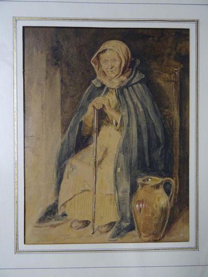 Pierre LAPLANCHE (1804-1882)  Vieille dame à la cruche  Aquarelle  H. 25,5 cm -...