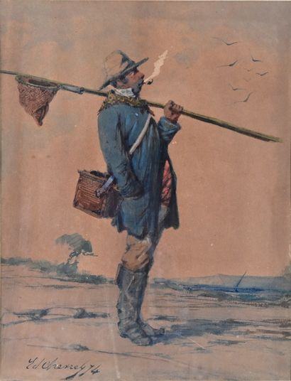 Edmond CHEVRES (19th century)  The fishermen  Two watercolours, signed and dated...