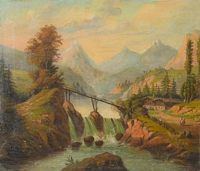 French school of the 19th century  Mountain scene  Oil on canvas  H. 34 cm - L....