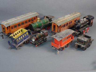 Lot of O and 1 scale trains including three...