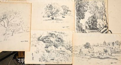 Georges MANZANA-PISSARRO (1871-1961)  Lot of five landscapes of Vron  Charcoal drawings...