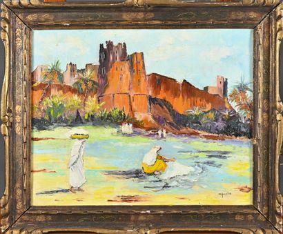 Michelle GOURLOO (XXè siècle)  Paysage orientaliste...