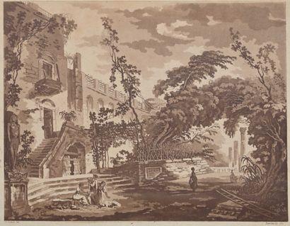 Abbé de SAINT-NON (1727-1791)  Entrée du Temple de Sérapis à Pouzzole, 1767  Aquatinte...