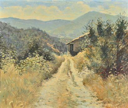 Luc DIDIER (1954)  Le refuge  Huile sur toile,...