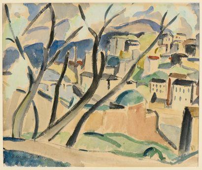 Adrien BAS (1884-1925)  Vue de Lyon  Aquarelle,...