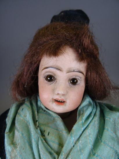 Belle poupée de mode ancienne Jumeau t. 1, tête en biscuit, perruque en cheveux...