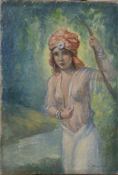 M REVERBERI (XXe siècle)  Jeune femme au...