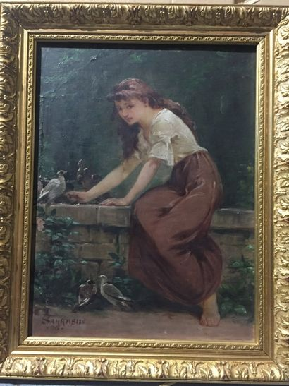 19th century FRENCH SCHOOL - SARRASIN***  Young woman with doves  Oil on canvas,...