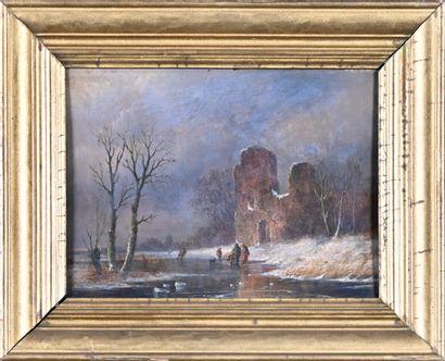Ecole FRANCAISE du XIXème siècle  Paysages de ruines enneigées  Huile sur panneau,...