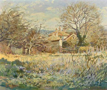 Luc DIDIER (1954)  Paysage à la ferme  Huile...