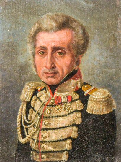 Ecole Française du XIXe siècle  Portrait d'officier  Huile sur carton  H. 16 cm...