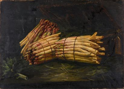 Georges Jean Marie HAQUETTE (1854-1906)  The asparagus  Oil on canvas, signed on...