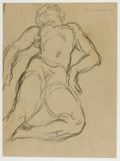 Pierre COMBET-DESCOMBES (1885-1966)  Nu allongé  Dessin au fusain, signé en haut...