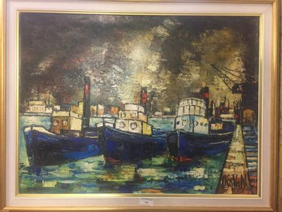 Gilbert CHAVAN (1929-1975)  Vue d'un port...