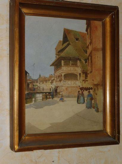 Gustave KRAFFT (1861-1927)  Rue en Alsace  Aquarelle signée et située en bas à droite...