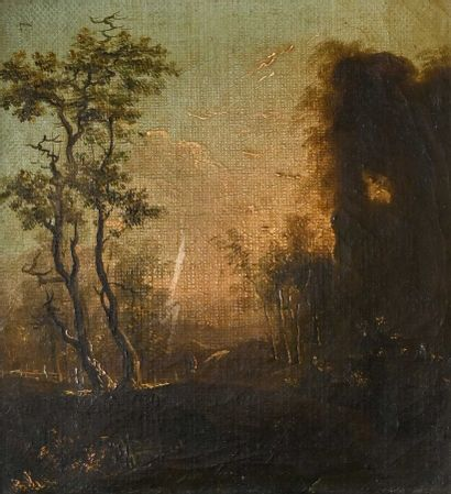 Ecole FRANCAISE du XVIIIe siècle  Paysage au crépuscule  Huile sur toile  H. 16...