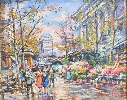 Wilma Lucas (née en 1936)  Marché aux fleurs...