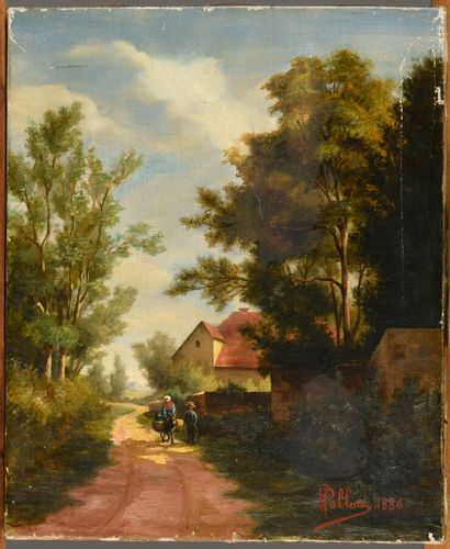 Philippe PALLUIS (active in Lyon at the end of the 19th century)  Landscape with...