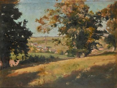French school of the 19th century  Country landscape  Oil on panel  H. 26 cm - L....