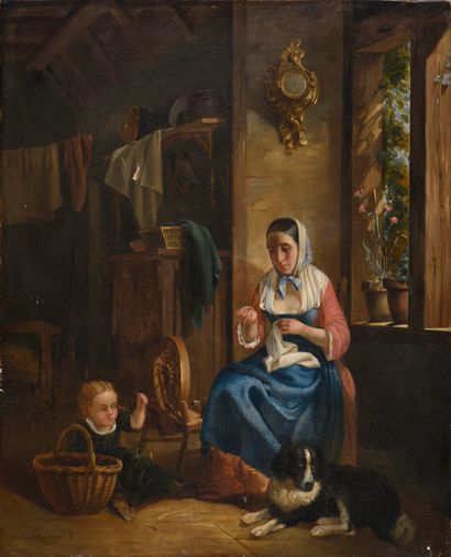 """19th century FRENCH SCHOOL  The embroiderer  Oil on canvas signed lower left """"Carraud""""..."""