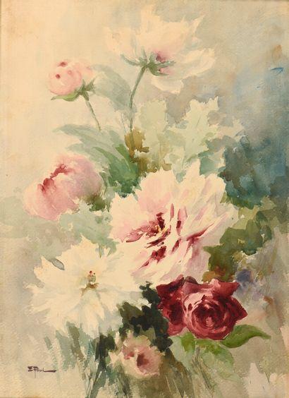 Ernest FILLIARD (1868-1933)  Rose rouge,...
