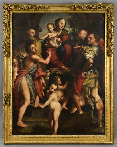 École ITALIENNE vers 1700, D'après Le CORREGE  La Madone de San Giorgio  Toile  H....