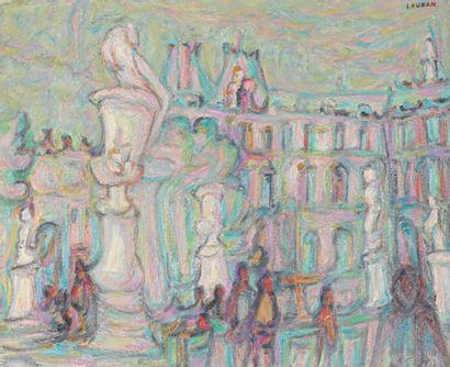 André LAURAN (1922-2009)  Jardin des Tuileries,...