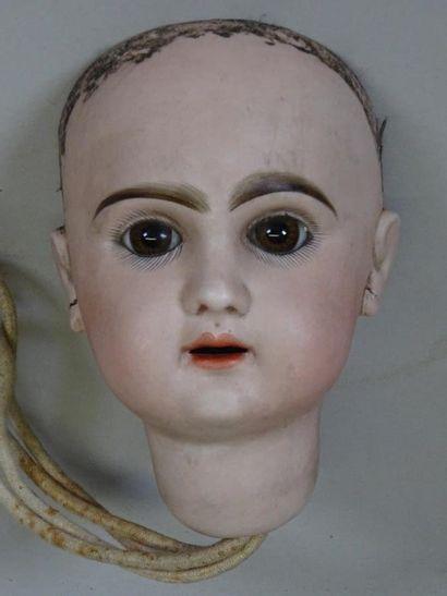Tête biscuit moule Jumeau modèle réclame taille 10, yeux marrons en verre fixes,...