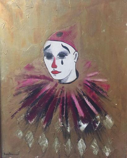BEDROSSIAN (XXè siècle)  Pierrot  Huile sur...