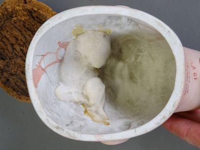 Tête Jumeau en biscuit coulé taille 10. Yeux en sulfure bleu fixes, oreilles percées....
