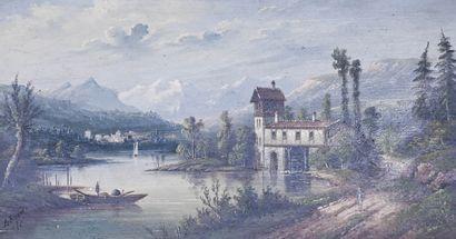 A. RUEFF (XIX-XXe siècle)  Bord de lac animé...