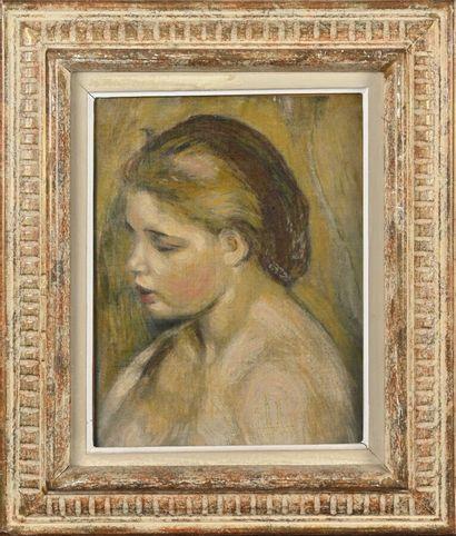Auguste RENOIR d'après  Portrait de femme  Huile sur toile  H. 32 cm - L. 25 cm