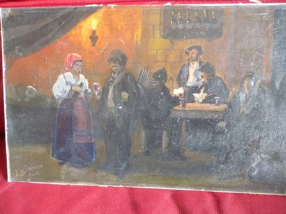 French school of the 19th century  Tavern scene  Oil on cardboard, signed lower...